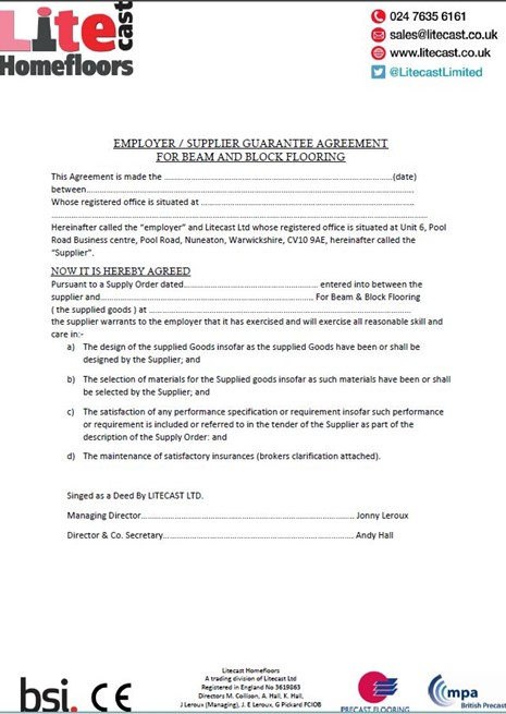 Employer/Supplier Guarantee Agreement